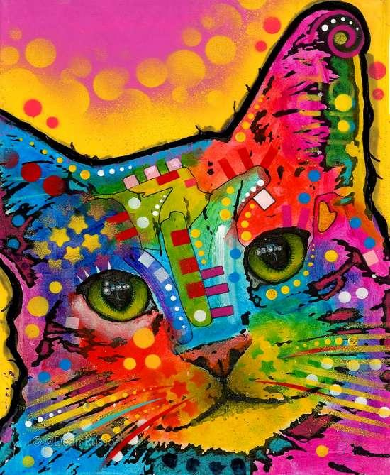 Картина по номерам 40x50 Яркие краски и котик